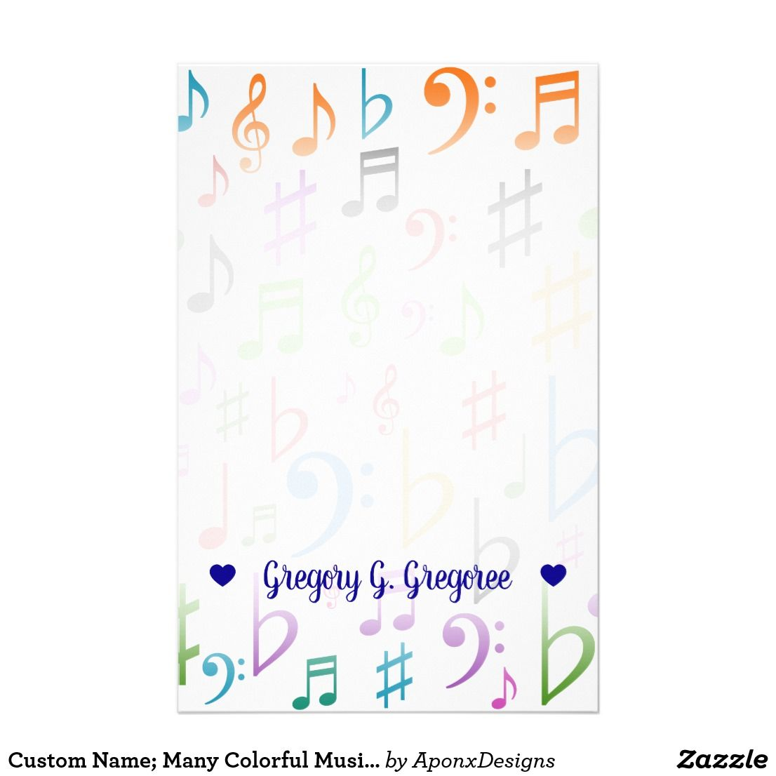 Custom Name Many Colorful Music Notes And Symbols Stationery