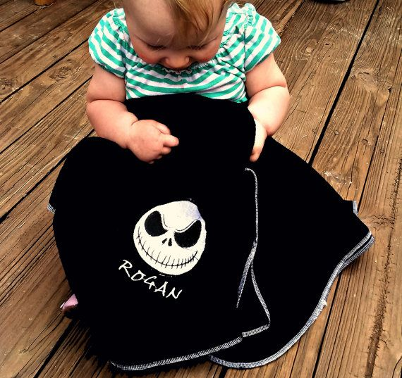 Personalized Name  Baby shower gift Nightmare Before Christmas Jack Skellington Fleece Baby Blanket unique gift baby bedding accessory