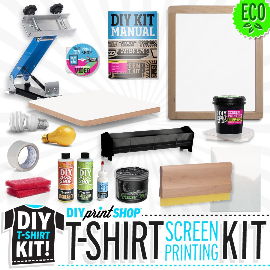 The do it yourself diy print shop original t shirt kit comes diy print shop do it yourself screen printing kits solutioingenieria Image collections