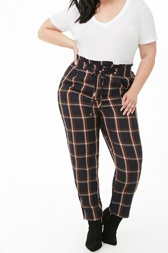 33ef21cb80f Plus Size Plaid High-Rise Ankle Pants