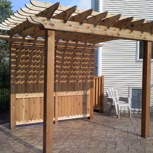 custom built pergola with privacy screen you could hide the air conditioner and you patio would be covered - Patio Privacy Screen