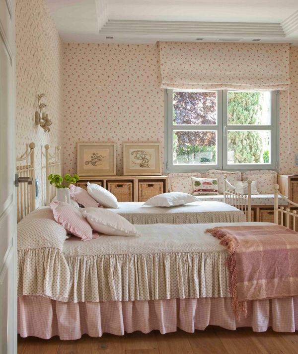 schlafzimmer gestalten shabby chic stil landhausstil rüschen - landhausstile