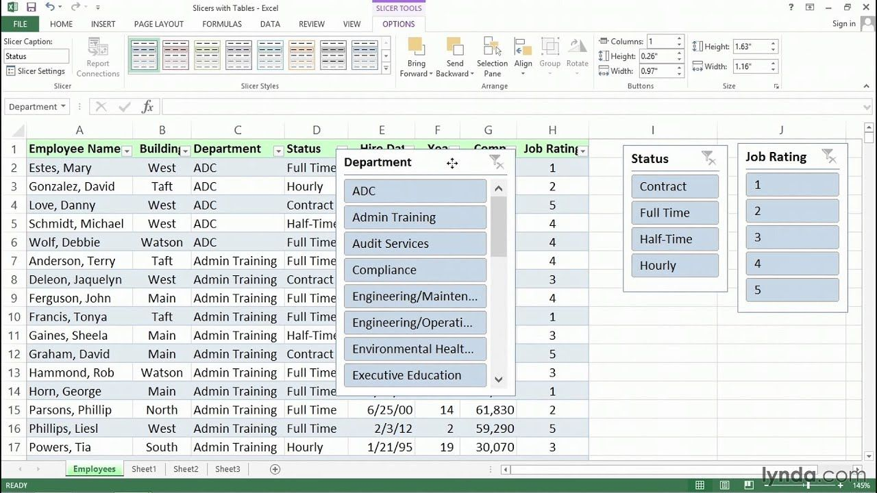 Using slicers with table data for richer filtering tools
