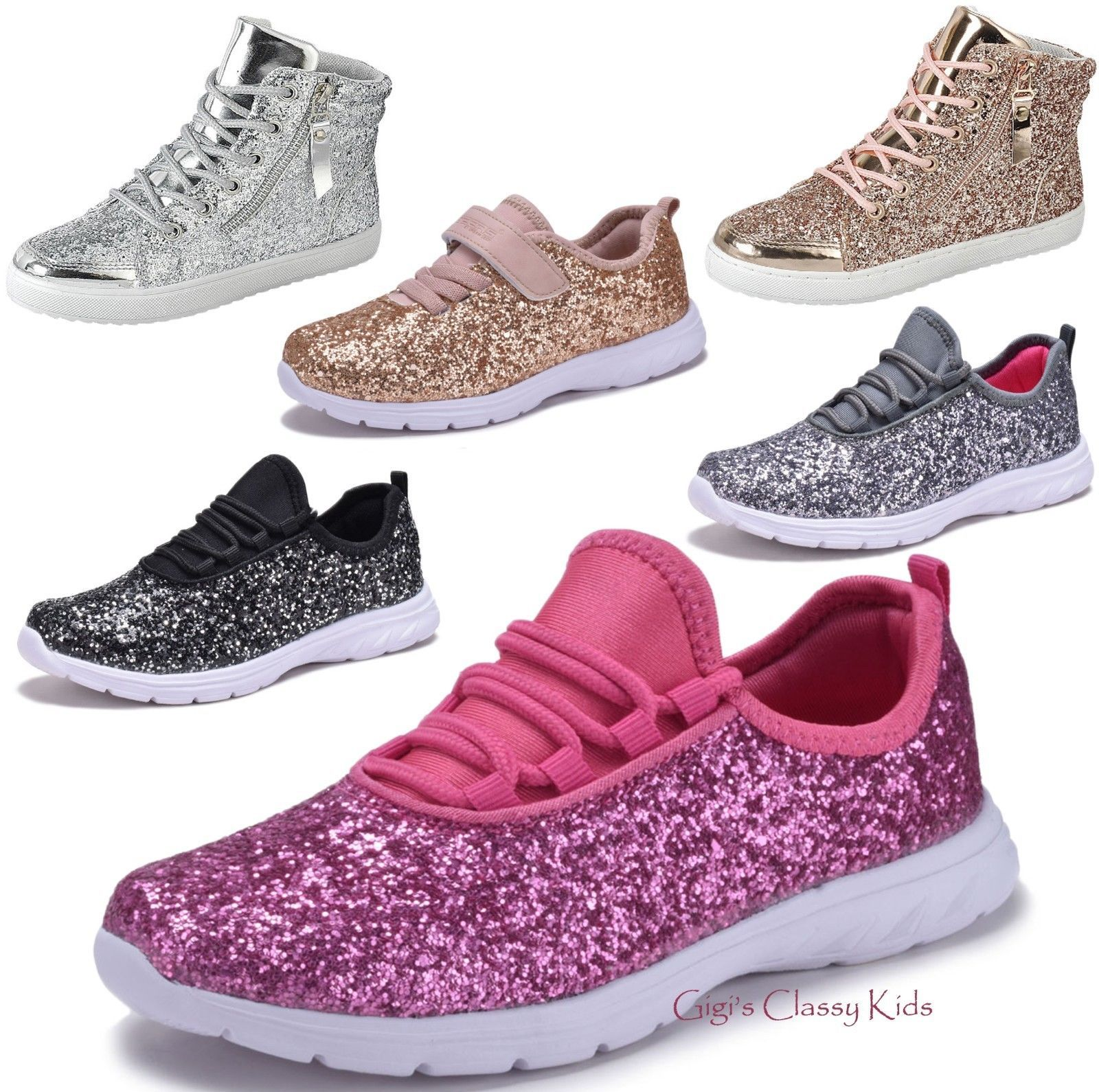 Girls Shoes 57974  Fashion Youth Kids Girls Sequins Glitter Sneakers Lace  Up Tennis Shoes High Top -  BUY IT NOW ONLY   19.97 on  eBay  girls  shoes  ... cf6ad2445642