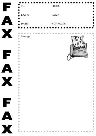 The word Fax is displayed prominently three times at the far left - free downloadable fax cover sheet