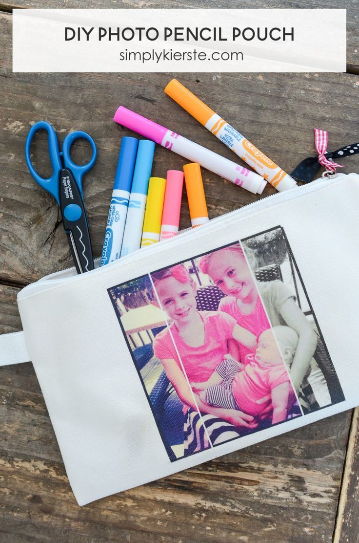 DIY Photo Pencil Pouch - Add a picture on the front to make it personal and fun! | simply kierste.com #elementscreators #ad