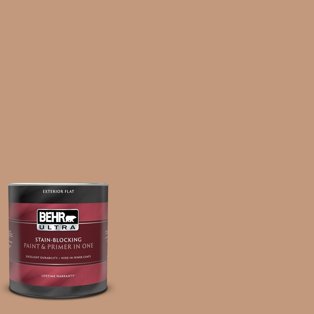 Behr Ultra 1 Qt Ppu3 12 Egyptian Pyramid Flat Exterior Paint And Primer In One In 2020 Exterior Paint Paint Primer Behr