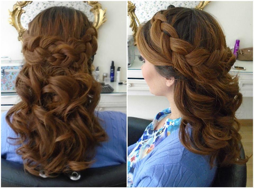 Atrevido y bonito peinados medio recogido Galería De Tutoriales De Color De Pelo - half up do braided   Medio recogido con trenza   Peinado y ...