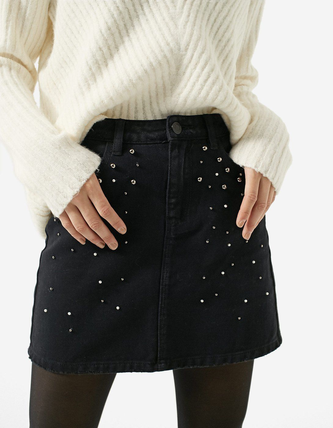 eb049c1b69a Denim skirt with faux pearls - JUST IN