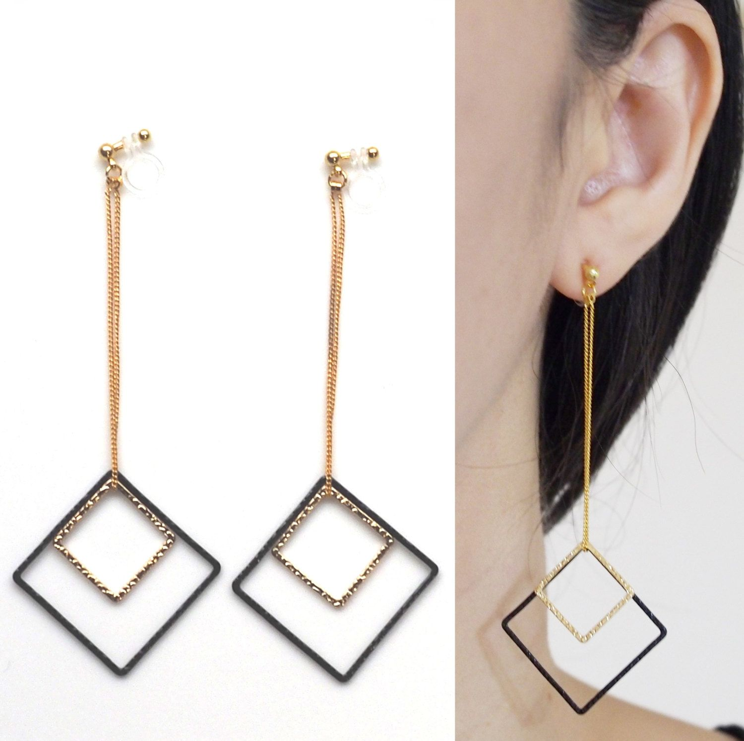Long Dangle Invisible Clip On Earrings Geometric Jewelry Gold And Black Chic Ons Non Pierced Gift For Her By Miyarace