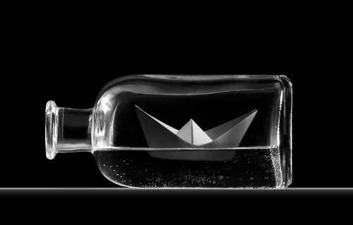 oragami ship in a bottle