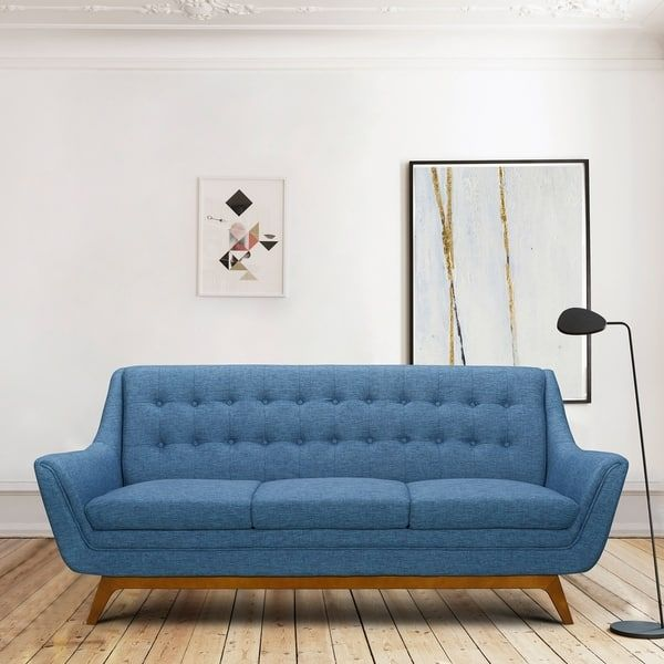 Janson Mid Century Sofa In Champagne Wood Finish And Blue Fabric