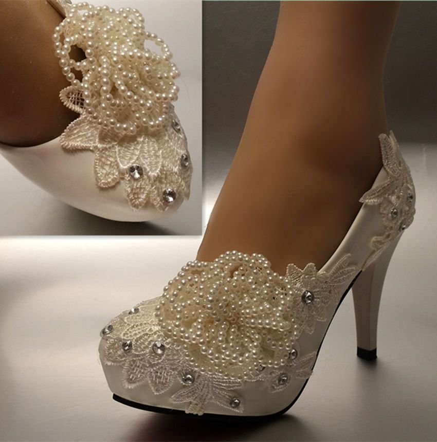 Su Cheny 3 4 Heels White Ivory Lace Beads Flowers Pumps Wedding Bridal Shoes Ebay Bridal Heels Wedding Shoes Wedding Shoes Bride