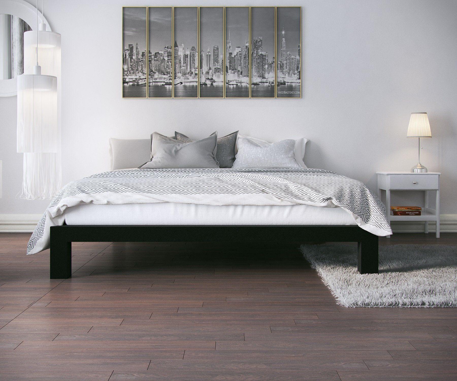 Stella Metal Platform Bed Frame Modern Finish Thick and