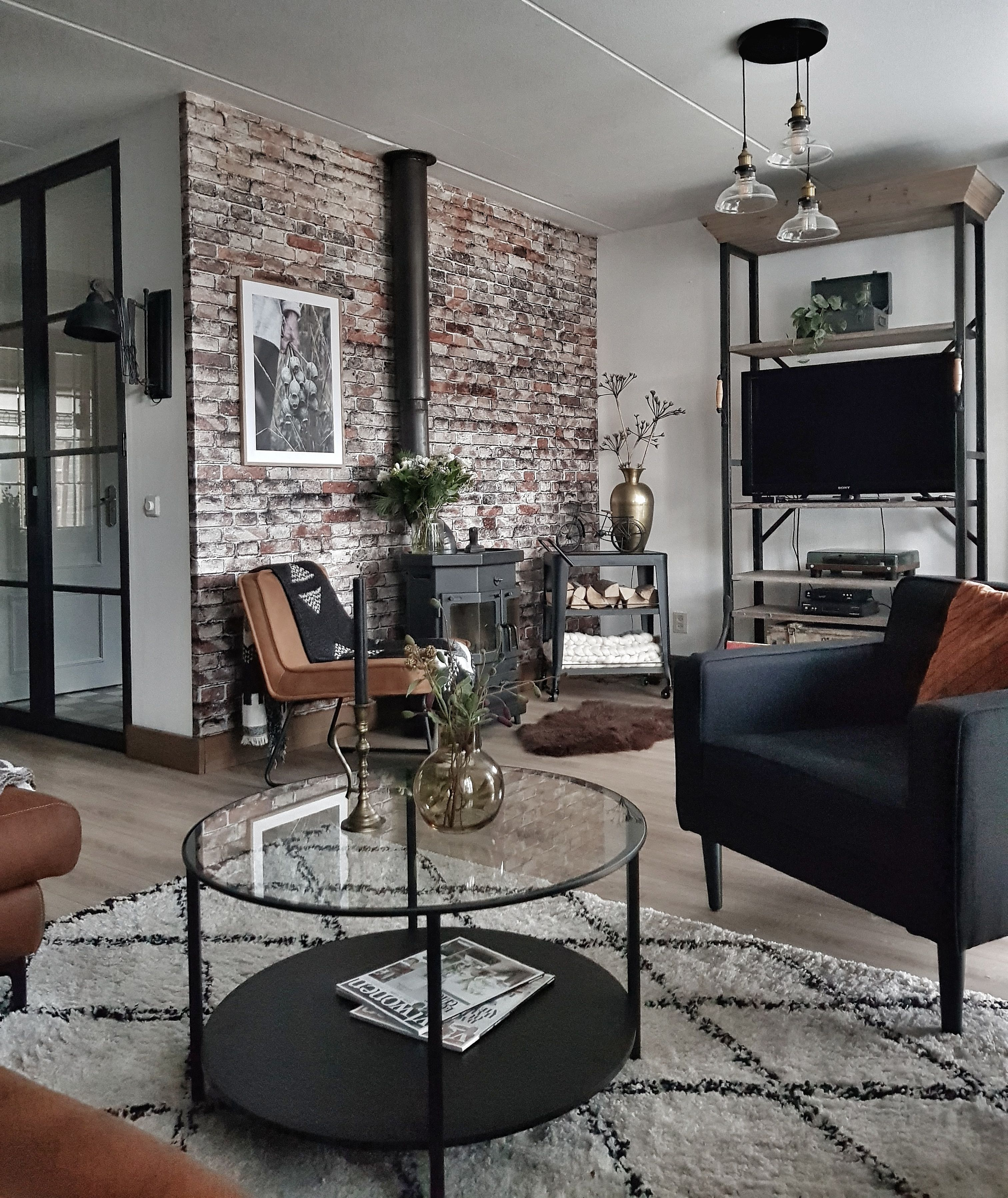 Brickwork Black Wallpaper Living Room Industrial Style Living Room Industrial Decor Living Room #wallpaper #decor #living #room