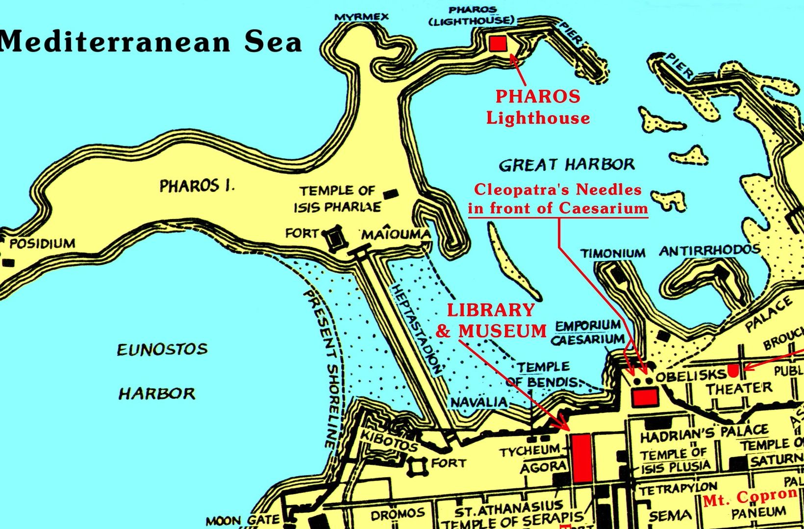 Map Detailing The General Location Of The Ancient Library
