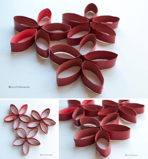 Flores con rollos de papel higi nico cart n pinterest - Decoracion con carton de papel higienico ...