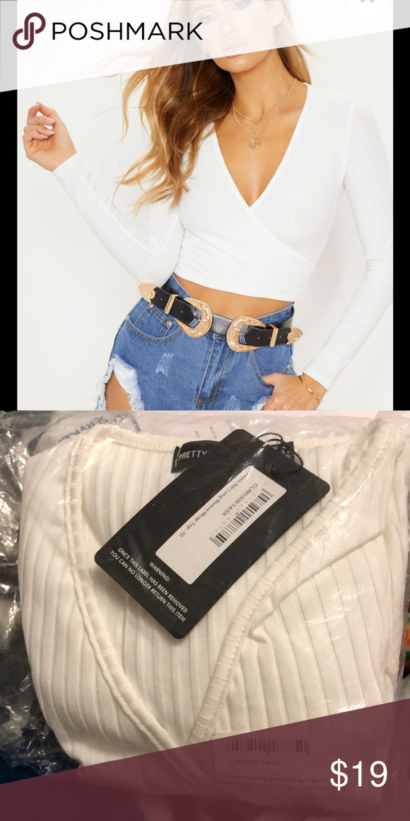 ae76c76dbc7bd Cream rib long sleeve wrap top Cute white crop top. US size 6. from pretty  little things! Fits like a size medium. Never worn still in bag Tops Crop  Tops