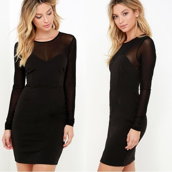 Black Mesh Top Bodycon Dress Flawless LBD size large but could also fit a medium Forever 21 Dresses Mini