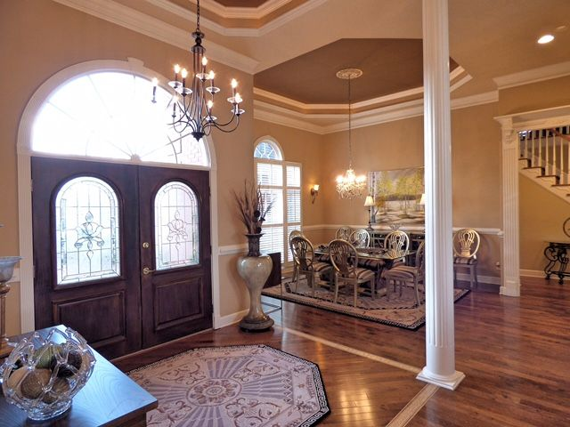 Chair Rail Level Part - 38: Trey Ceiling In Foyer, Wood Floor Set On Diagonal, Chair Rail. Hardwood  Floor