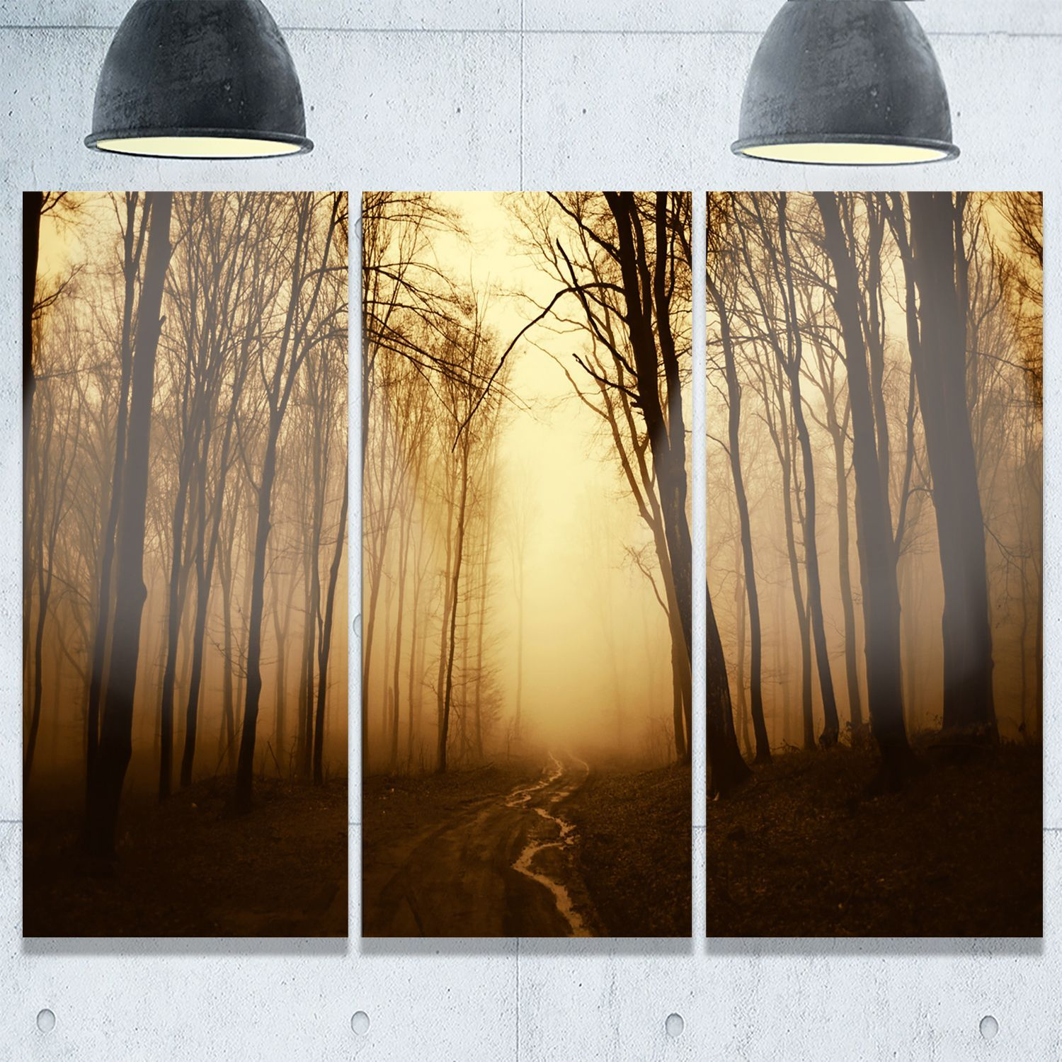 Designart - Road in Forest with Fall Fog - Landscape Photo Glossy ...