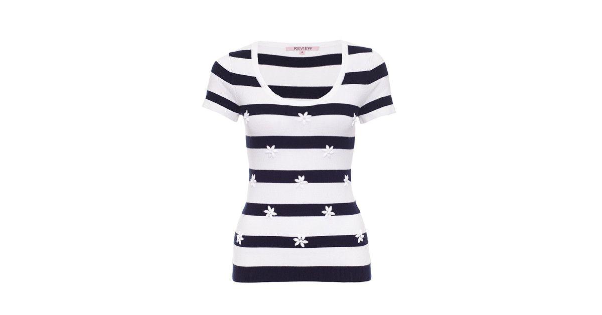 Review Australia - Drew Striped Knit Top Navy/white