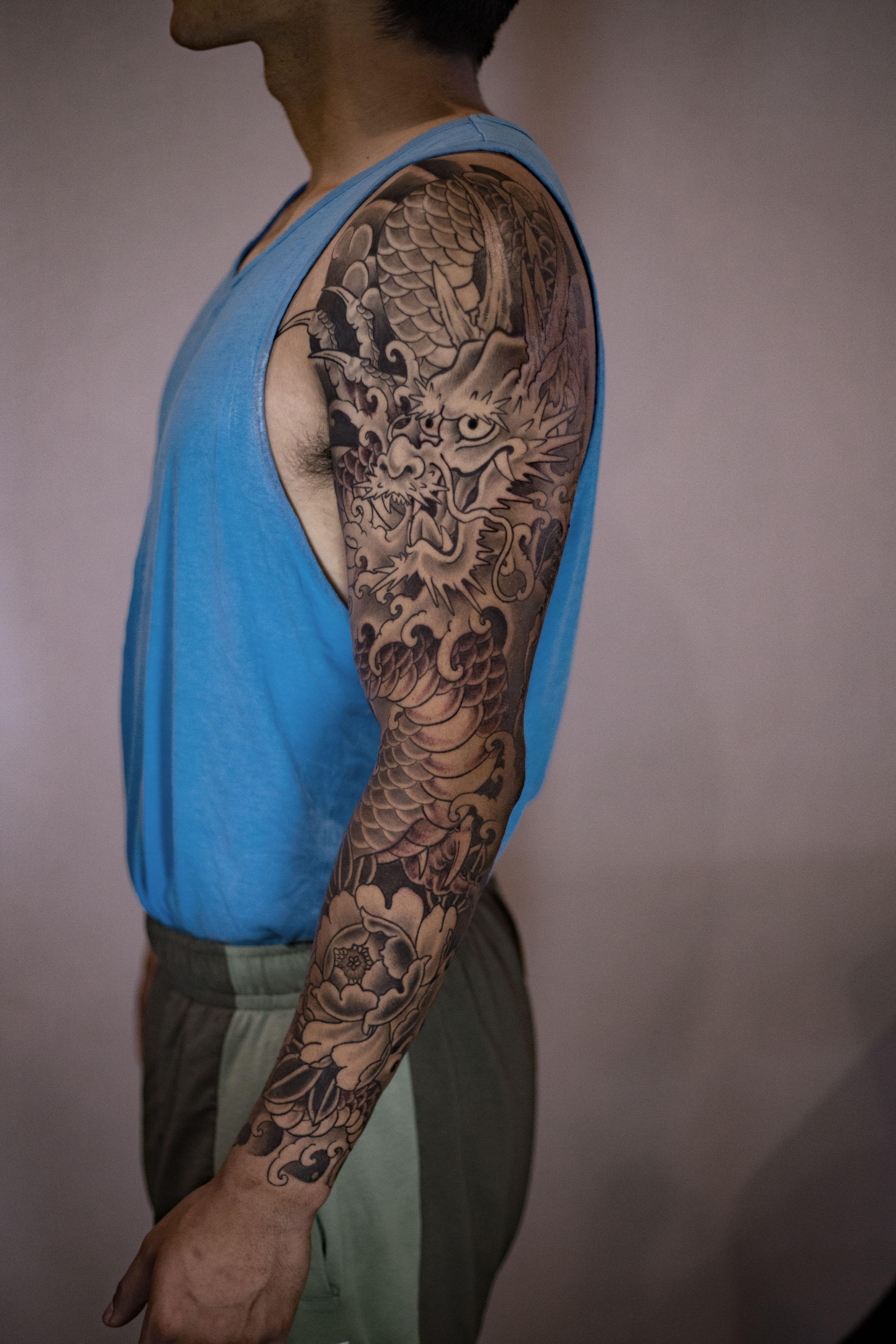 Black And Grey Japanese Sleeve San Diego Tattoo Artist In 2020 Tattoo Japanese Style Japanese Sleeve Dragon Tattoo Art