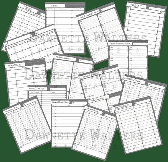 15 Page Printable Download Caregiver Medical Organizer