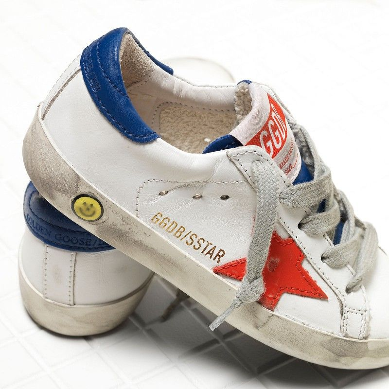 c39e7d0406218b Golden Goose Super Star Sneakers In Leather With Leather Star Kids - Golden  Goose   GGDB