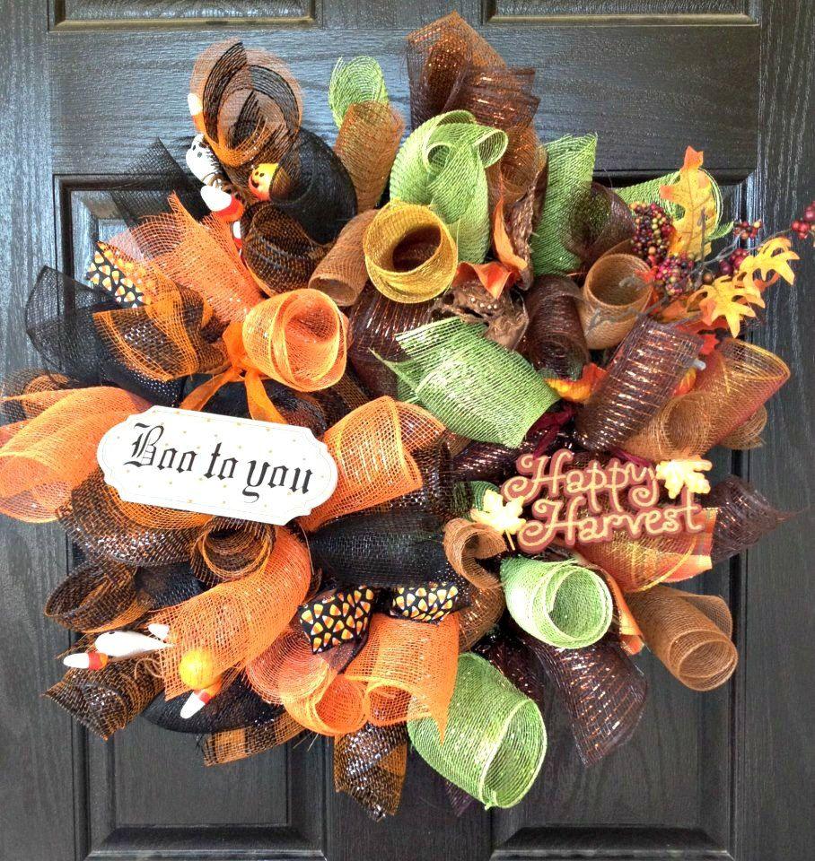 Halloween Wreath Fall Wreath Fall Decor Deco Mesh Wreath Front Door - halloween front door decor