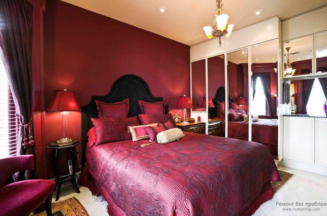 дизайн спальни с бордовыми обоями фото один бал