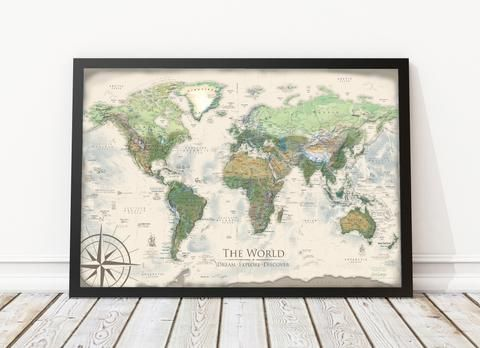 Nautilus world map framed pin board map geojango maps world nautilus world map framed pin board map beautiful and informative the nautilus world map is a stunning topographic world map that features our own gumiabroncs Choice Image
