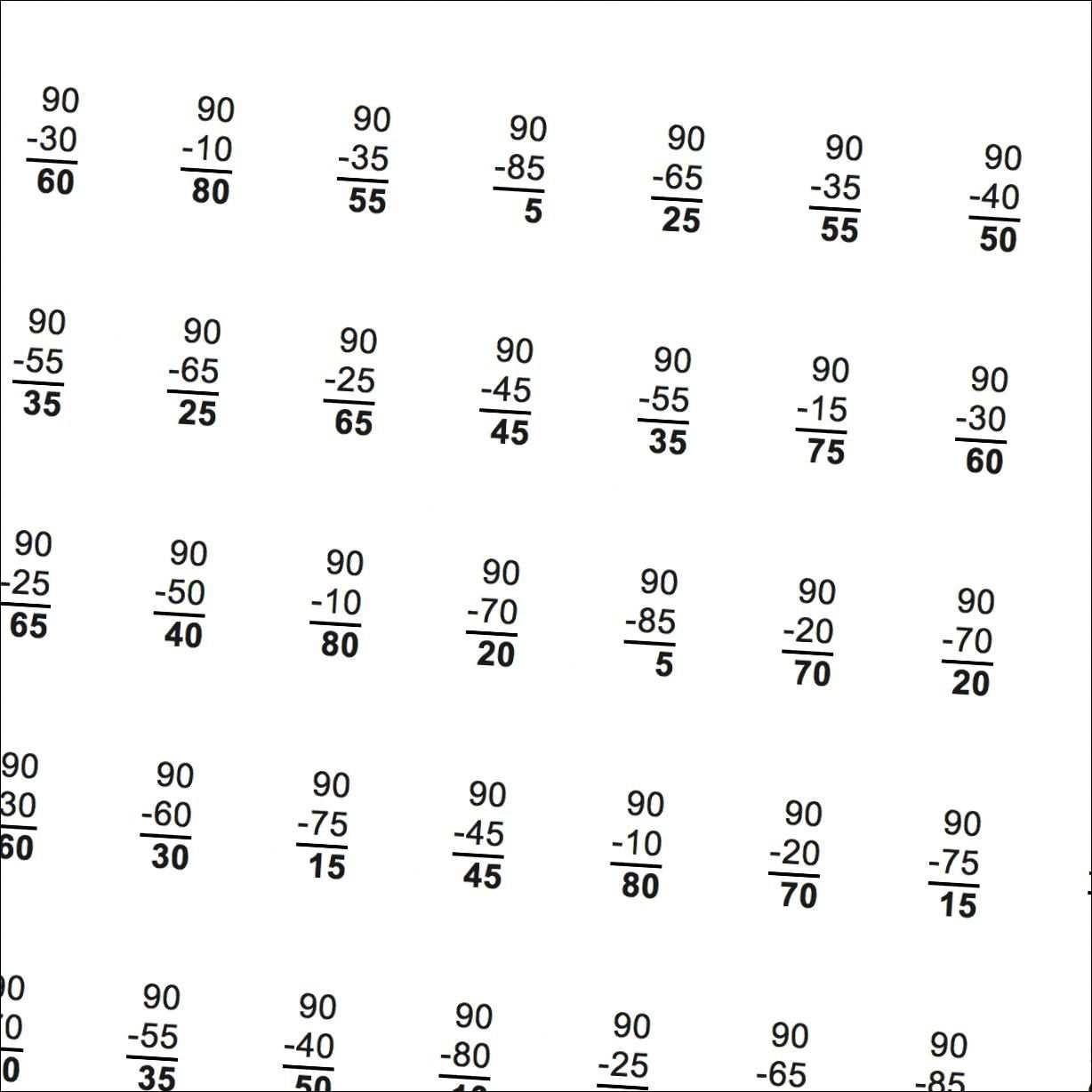 Math Worksheets Complementary Angle Subtraction
