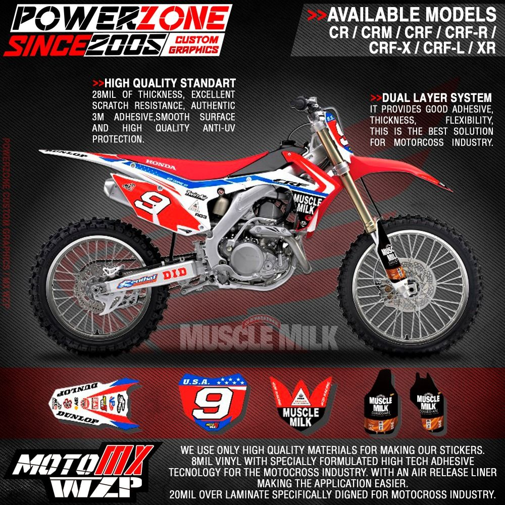 CRF CRF R X MUSCELE MILK Team Graphics Backgrounds Decals - Decal graphics for motorcyclesmotorcycle gas tank customizable stripes graphics decal kits