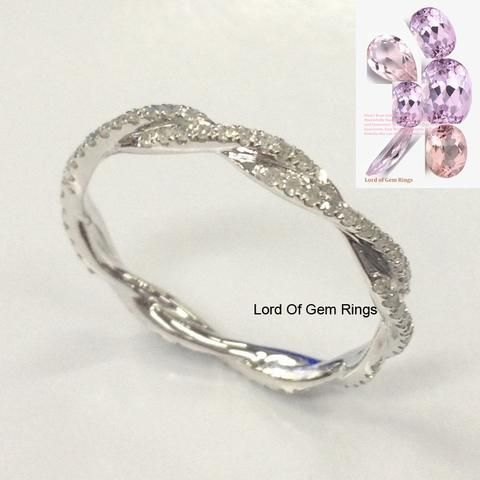 Pave Diamond Wedding Band Eternity Anniversary Ring 14K White Gold Infinity - Lord of Gem Rings - 1