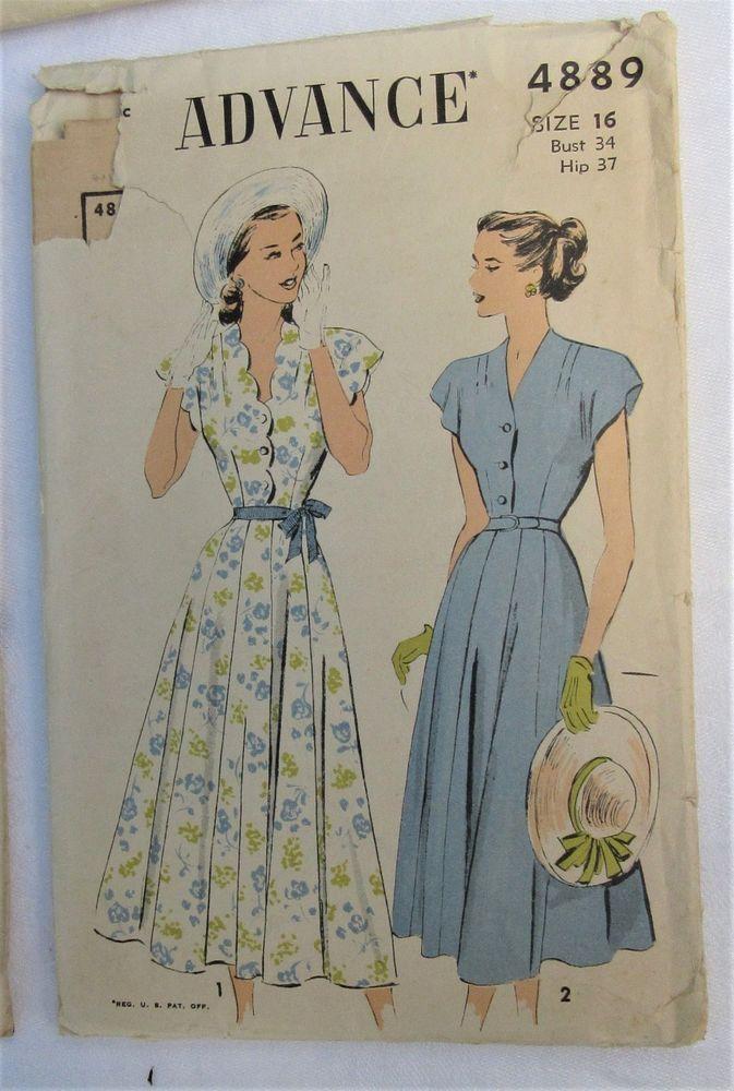 1940s Vintage Advance Sewing Pattern 4889 Misses Dress Size 16 B 34