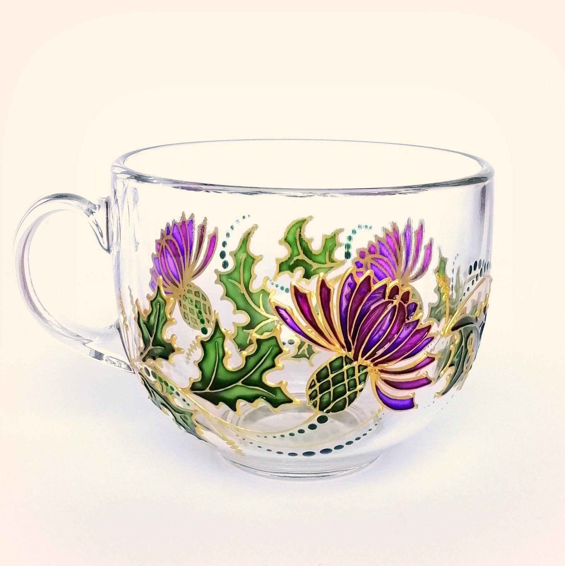 Scottish thistle coffee mug hand painted Anniversary gift