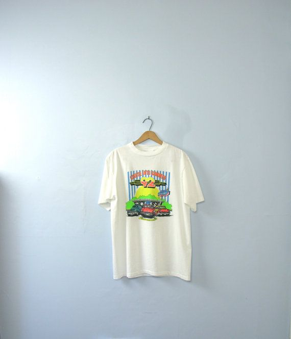 Vintage 90's graphic tee '92 classic car shirt size by manorborn