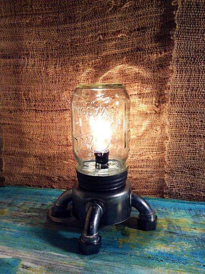 The Rocket Mason Mason Jar Table Lamp With Images Steampunk Table Lamp Small Table Lamp Table Lamp