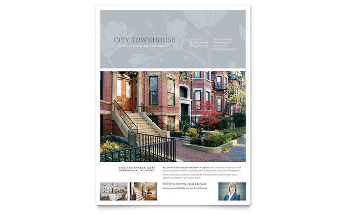 Real Estate Flyer Sample #2 - Townhouse Postcard Design - flyer format word