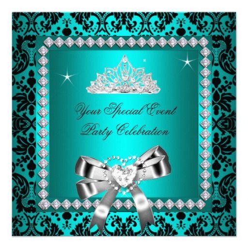 Teal Damask Silver Diamonds Tiara Bow Heart Custom Announcement