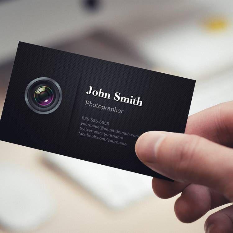 Professional Plain Black - Camera Photographer Business Card ...