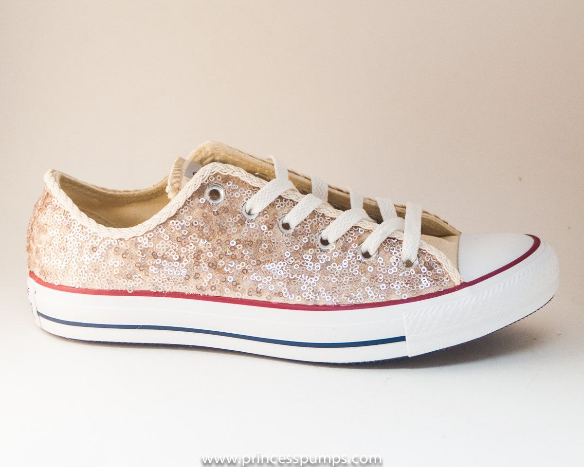 eff7144bd5360 Champagne Sequin Converse® Low Top Sneakers in 2019 | Super cute me ...