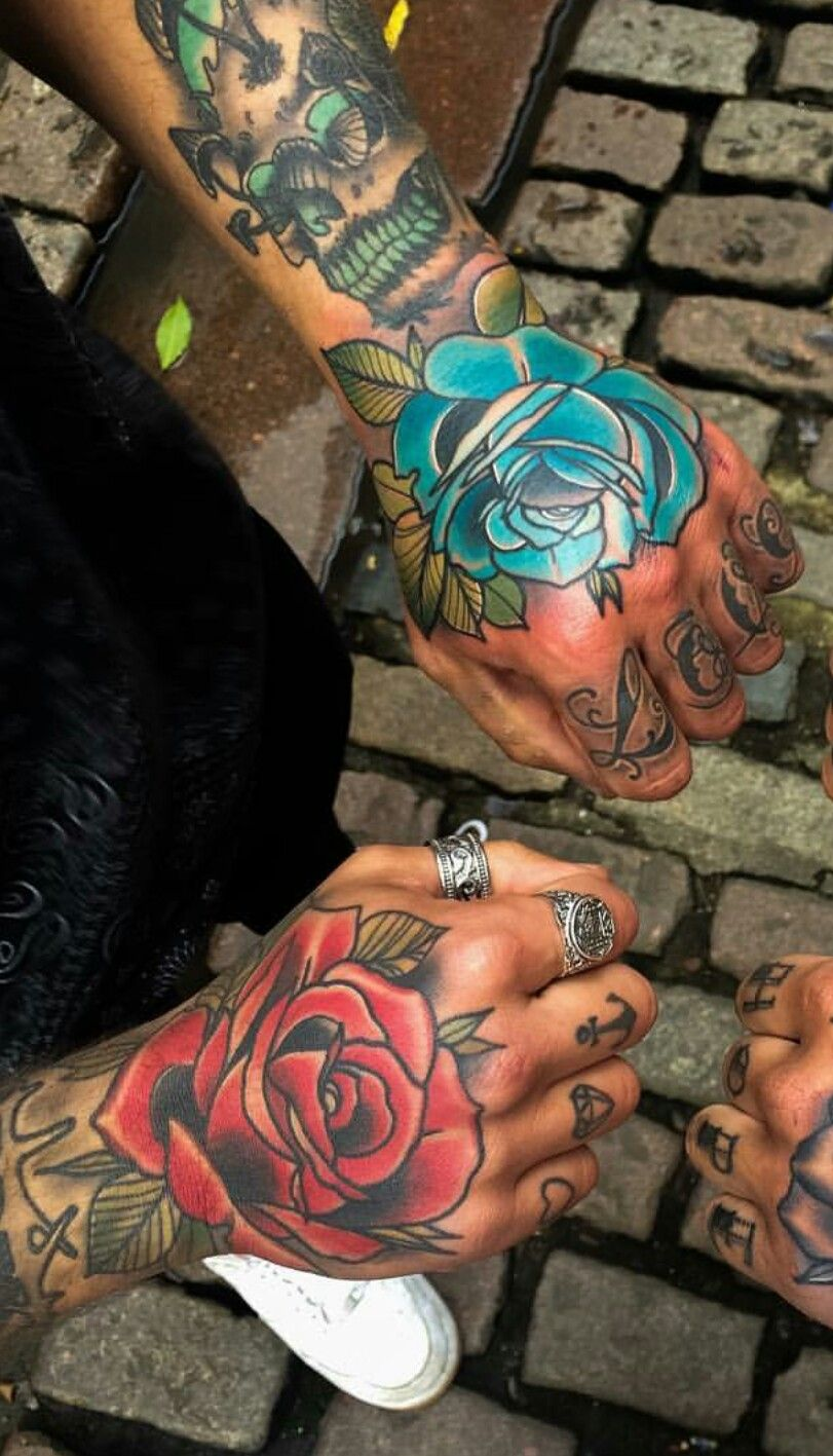 237f939d7dee6 Blue red rose hand #tattoos #tats #ink #inked @mattwebbtattoo | Body ...