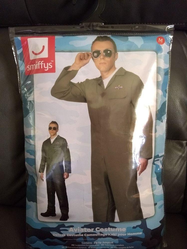 Aviator Costume Mens Flight Uniform Fighter Pilot Jumpsuit Fancy Dress  Outfit  fashion  clothing  shoes  accessories  costumesreenactmenttheater   costumes ... deb2260cff2e2