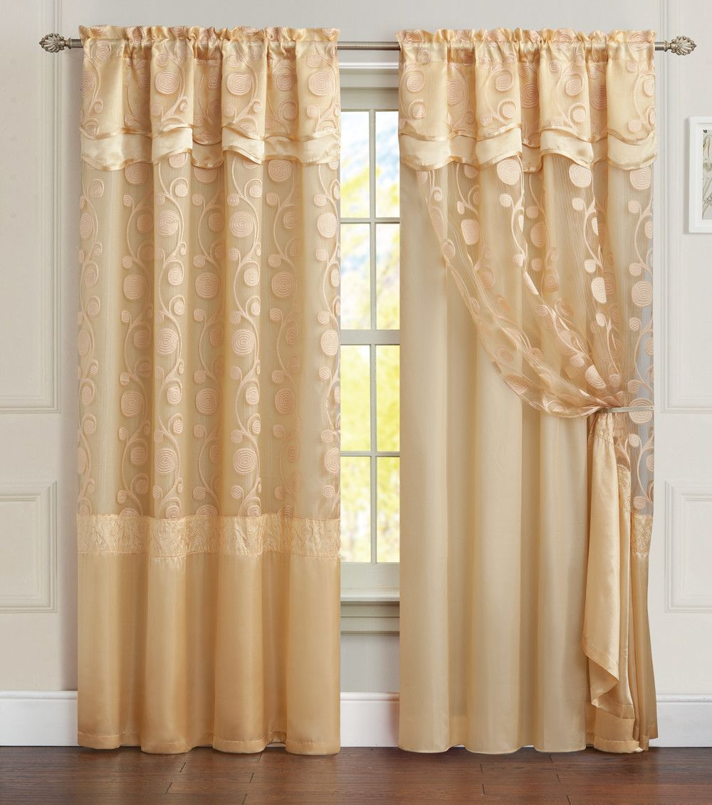 Arlingham Embroidered Blackout Single Curtain Panel Panel
