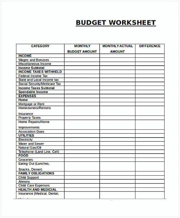 Monthly Budget Worksheet retirementplanning retirement