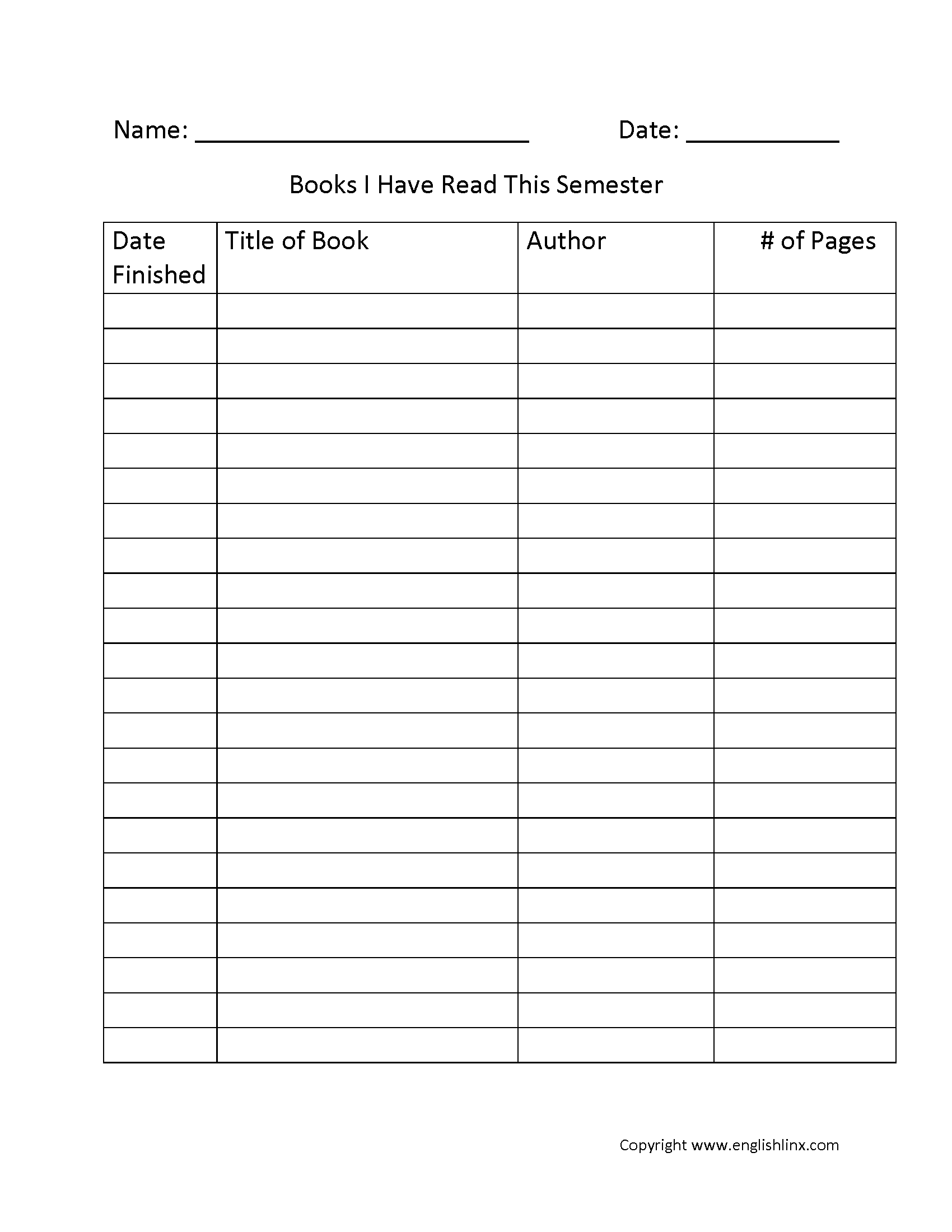 Books Read Semester Reading Log
