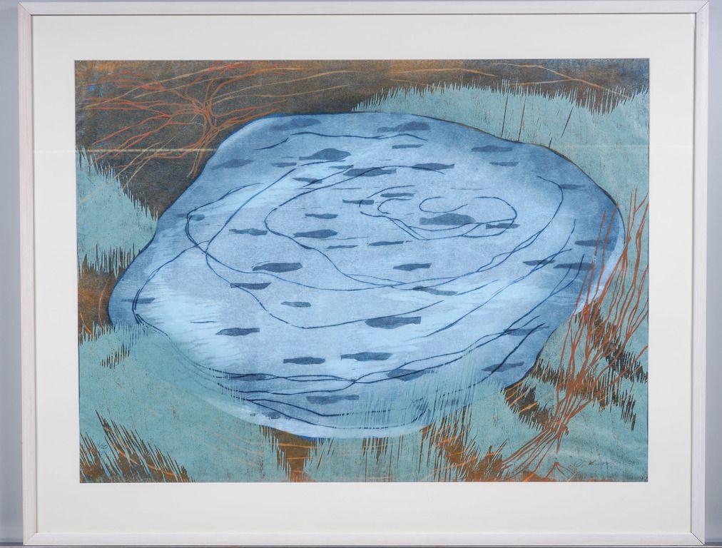Outi Kirves: Kalalammikko, 1998, puupiirros, 71x97 cm, edition 6/20 - Huutokauppa Helander 09/2015
