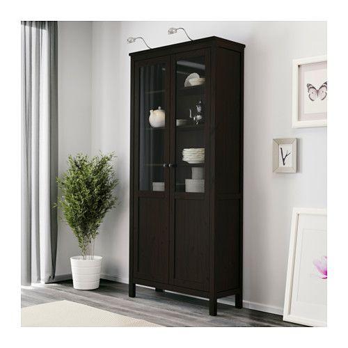 Hemnes cabinet with panel glass door black brown black for Ikea hemnes glass door cabinet